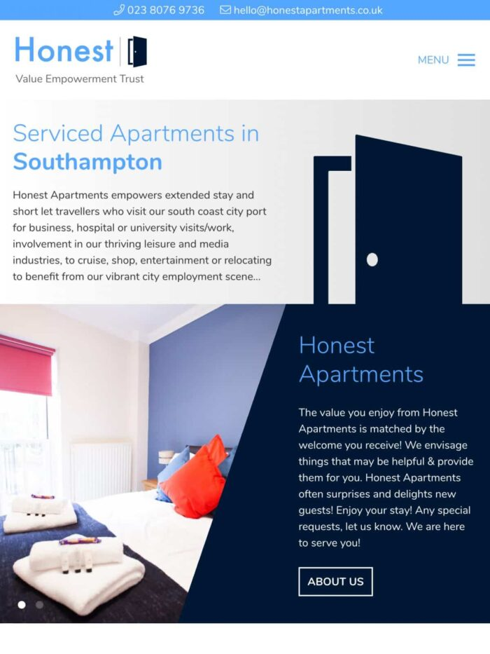 Honest Apartments tablet
